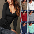 New Good Quality 2016 Cotton Blend Autumn Winter Women T-shirt Long Sleeve Vintage Sexy Casual V-Neck Tops Slim Bodycon Tops