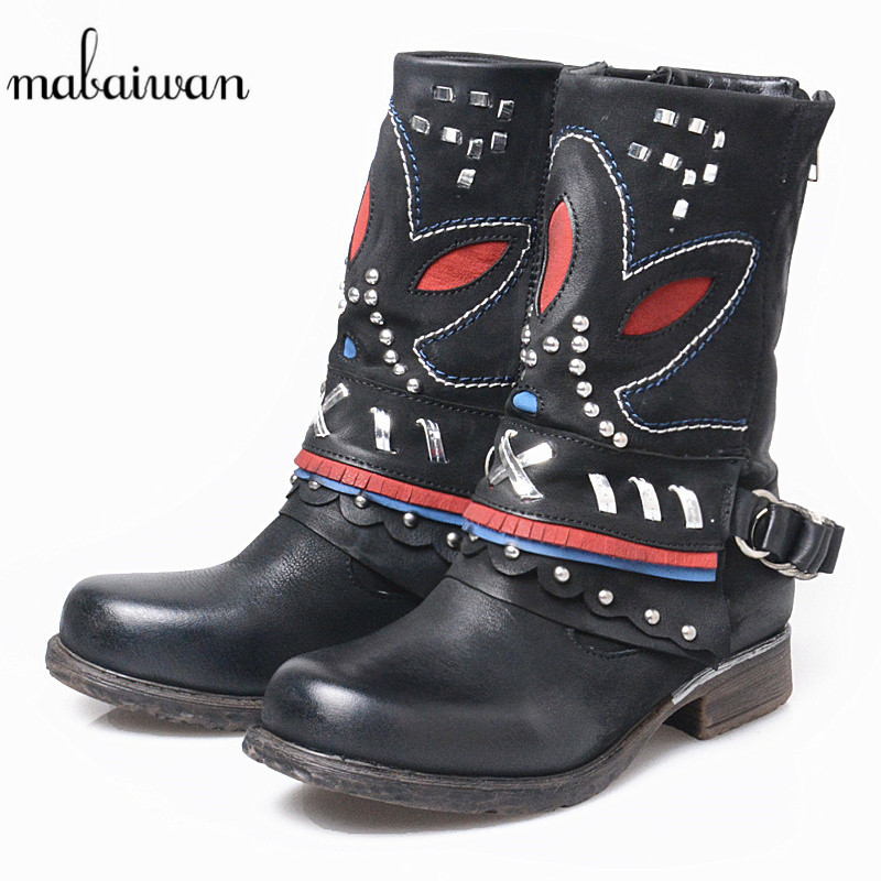 Mabaiwan 2017 Fashion Style Black Genuine Leather Women Shoes Snow Ankle Boots Punk Style Motorcycle Handmade Cowboy Boots Flats mabaiwan handmade rivets military cowboy boots mid calf genuine leather women motorcycle boots vintage buckle straps shoes woman