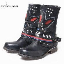 Mabaiwan Мода 2017 г. Стиль черный женская обувь из натуральной кожи зимние Ботильоны в стиле панк мотоциклетные ручной работы ковбойские ботинки Туфли без каблуков