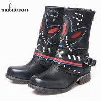 Mabaiwan 2017 Mode Leder Frauen Schuhe Schnee Stiefeletten Punk Stil Motorrad Handgemachte Cowboy Stiefel Wohnungen