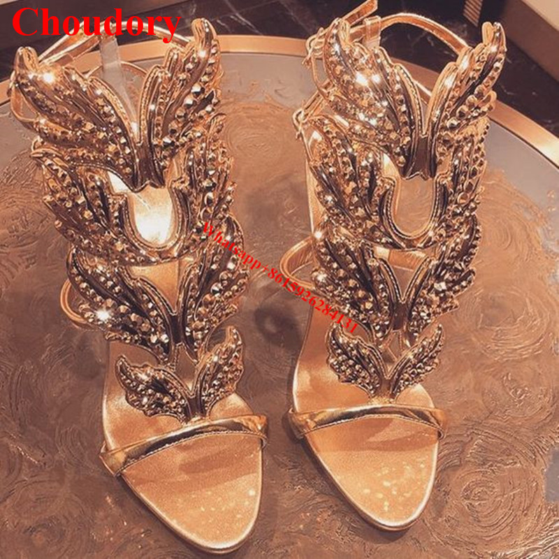Crystal Winged Women Caged Sandals Hot Sales Gold/Silver Rhinestone Leaves Metallic Leather Gladiator High Heels Sandalias Shoes hottest golden metallic leather wing sandals silver gold red gladiator high heels shoes women metallic winged sandals
