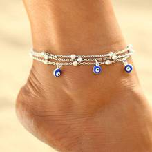HOT 2019 Turkish Evil Eyes Beads Anklets For Sandals Pulseras Tobilleras Mujer Pendant Anklet Bracelet Chain Foot Jewelry стоимость