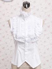 Lolita Sleeveless Pleated Hem Decoration White Cotton Blouse