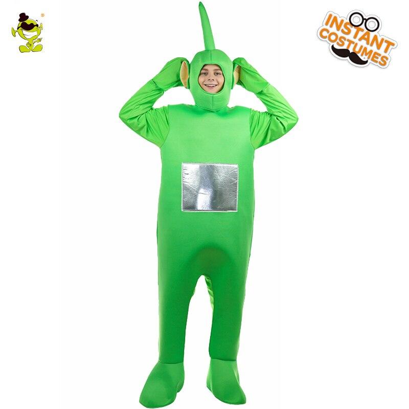 Di Vendita caldo Teletubbies Dipsy Costume Della Mascotte di Halloween Del Partito Cospaly Verde Dipsy Tuta Gioco di Ruolo Costumi Del Fumetto