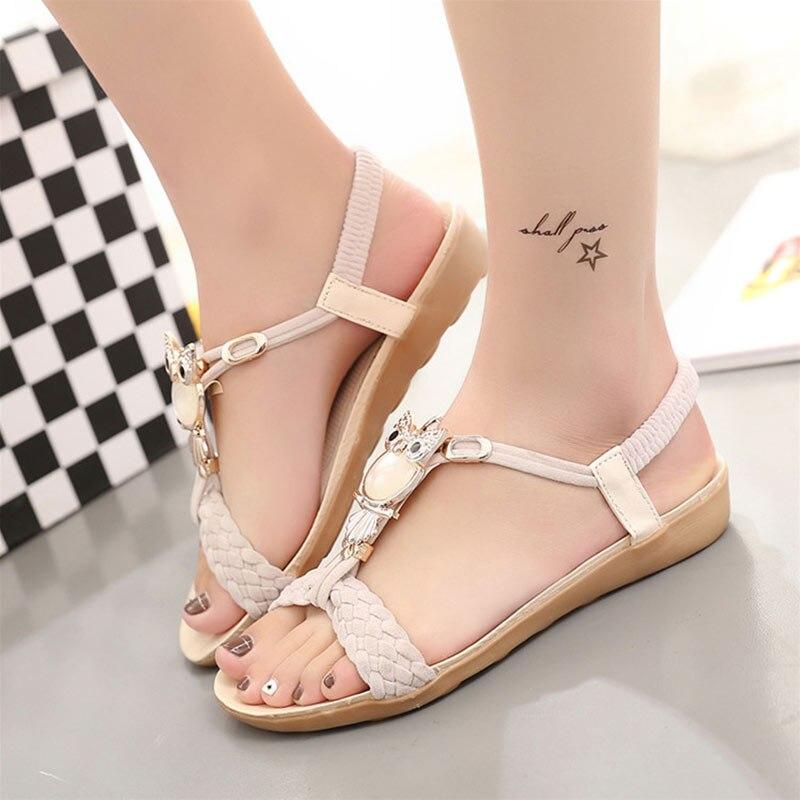 2018 new Women sandals  soft  leather Rhinestone sandals women Summer fashion sandals