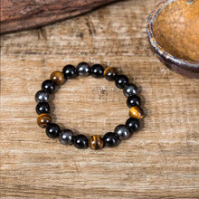 8mm/10mm Natural Stone Hematite Bracelet Tiger Eye Beaded Strand Wrap chain for men male Jewelry Accessories Gift