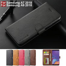 For Samsung A7 2018 Case Flip Vintage Wallet Cover Samsung Galaxy A9 2018 Case Leather Magnetic Phone Case On A7 2018 Case Book