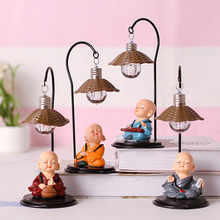 Cute Monk Beautiful Sleeping Figurines Ornaments Creative Resin Model Lamp Night Light Crafts Home Decoration Birthday Gifts cute sleeping piglet led night light table lamp creative resin pig crafts children birthday girl s friends gifts home decoration