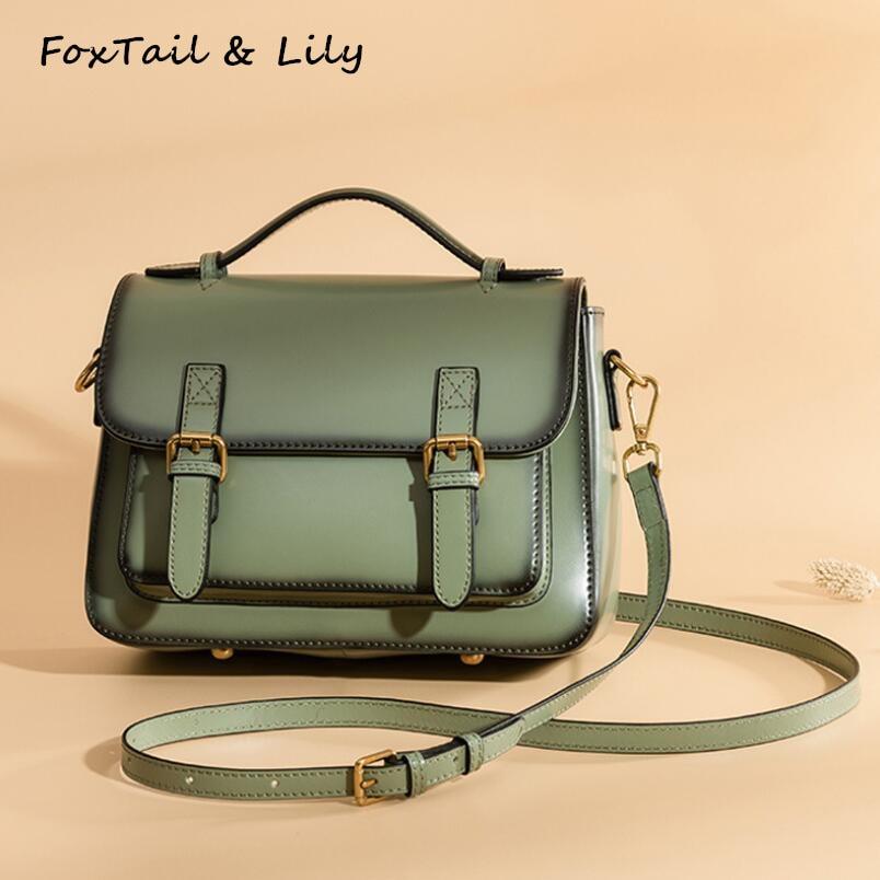 FoxTail & Lily 2018 Ladies Vintage Tote Shoulder Bag Designer Brand Women Crossbody Handbags Genuine Leather Small Messenger Bag цена