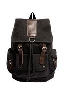 Vintage Canvas Leather Travel Backpack Bag Black