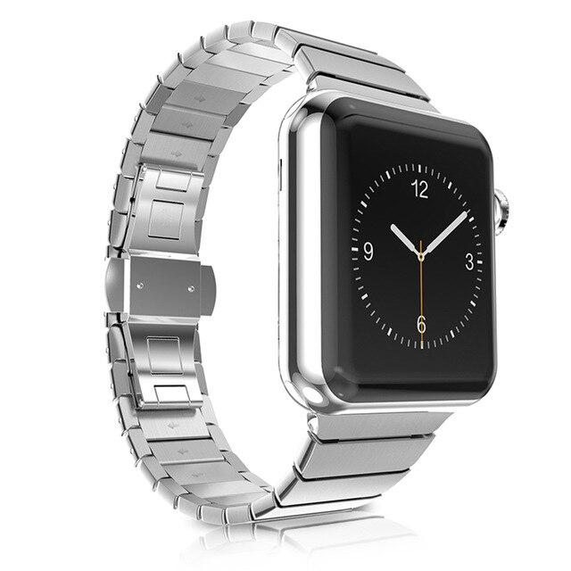 01b063e622a ... Banda para Apple Fivela de Aço Uebn Relógio 42mm 38mm Borboleta  Inoxidável Link Pulseira Strap para Apple Série 3 e 2 ...