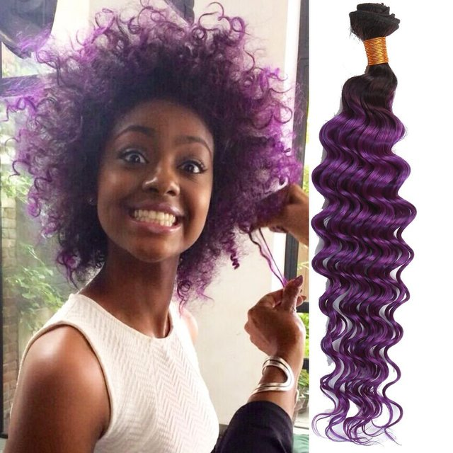 3 Bundles Purple Brazilian Deep Wave Remy Hair Weaving Ombre Kanekalon Braiding Queen Weave