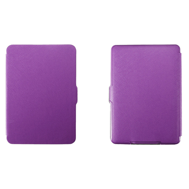 MOOL Magnetic PU Leather Cover Case Slim For Amazon Kindle Paperwhite (Cross Pattern, Purple)