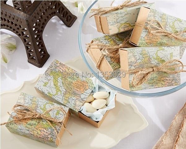 100pcs new arrival kraft paper the world map wedding favor candy box wedding decoration gift box