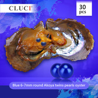 CLUCI 30 шт. AAA 6 7 мм Королевский синий морской Близнецы жемчуг устрицы Круглый akoya жемчужницы, бесплатная доставка, 60 жемчуг можно получить