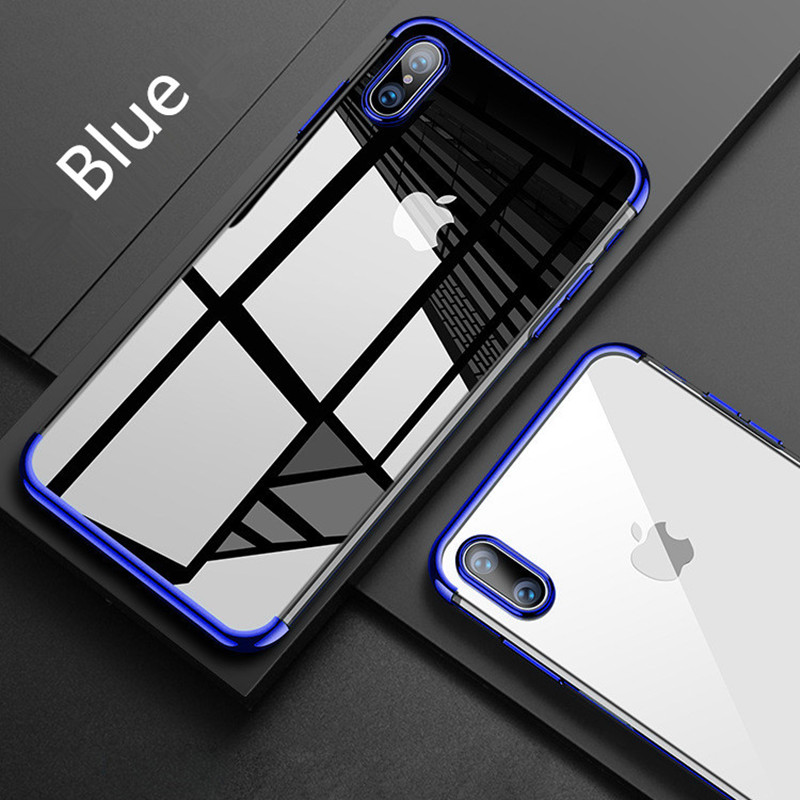 Phone Cases for Iphone 7 8 Plus Transparent Plating Cover for Iphoe X TPU Soft Silicon Coque for Iphone 6 6s Plus Funde Capa ...