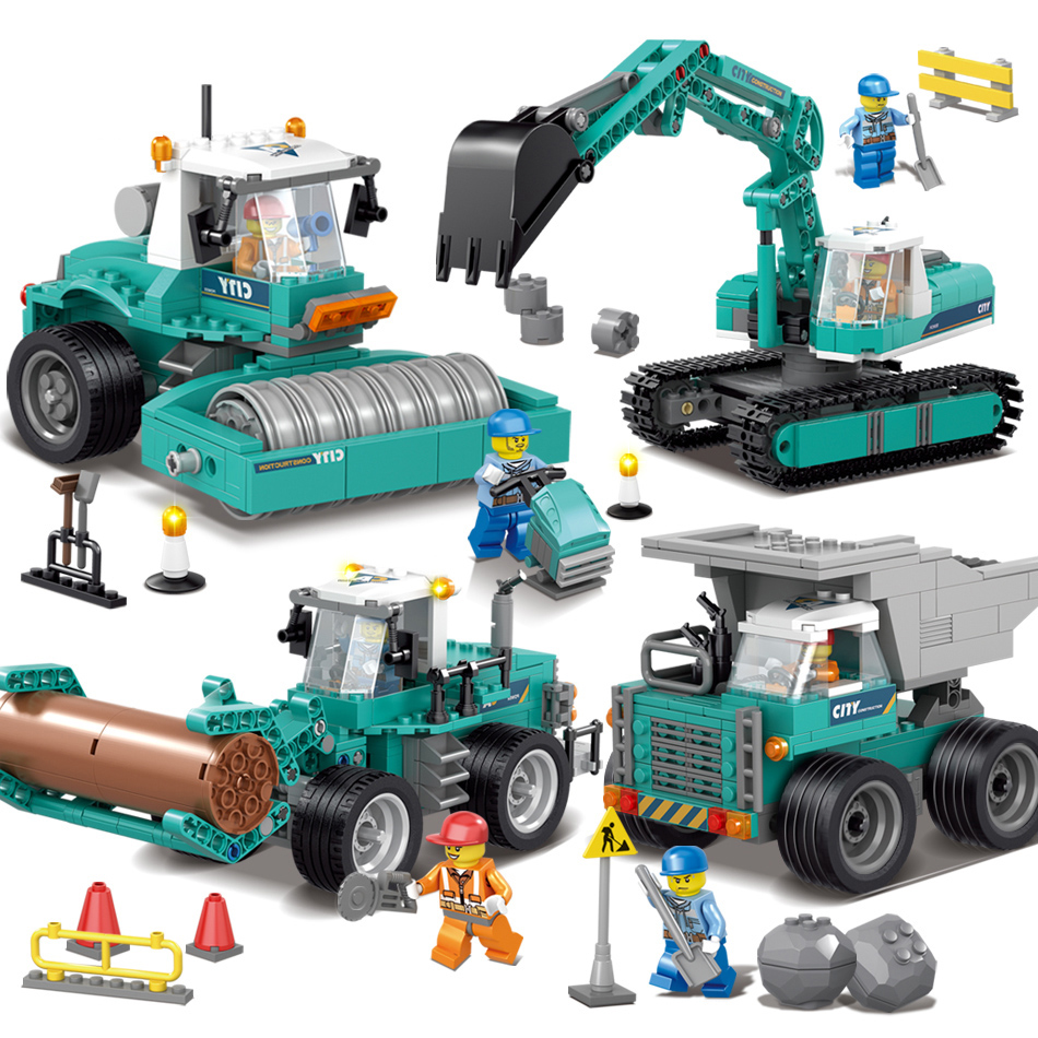 4 Sets Deformation Engineering Vehicles Excavator Model Building Blocks Compatible Legoe Police Technic City Kid Educational Toy 196pcs building blocks urban engineering team excavator modeling design