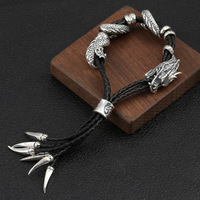Оптовая продажа S925 стерлингового серебра Ретро тайский серебряный личность Властного грубая кожа веревку выдвижной Размеры Для мужчин бра