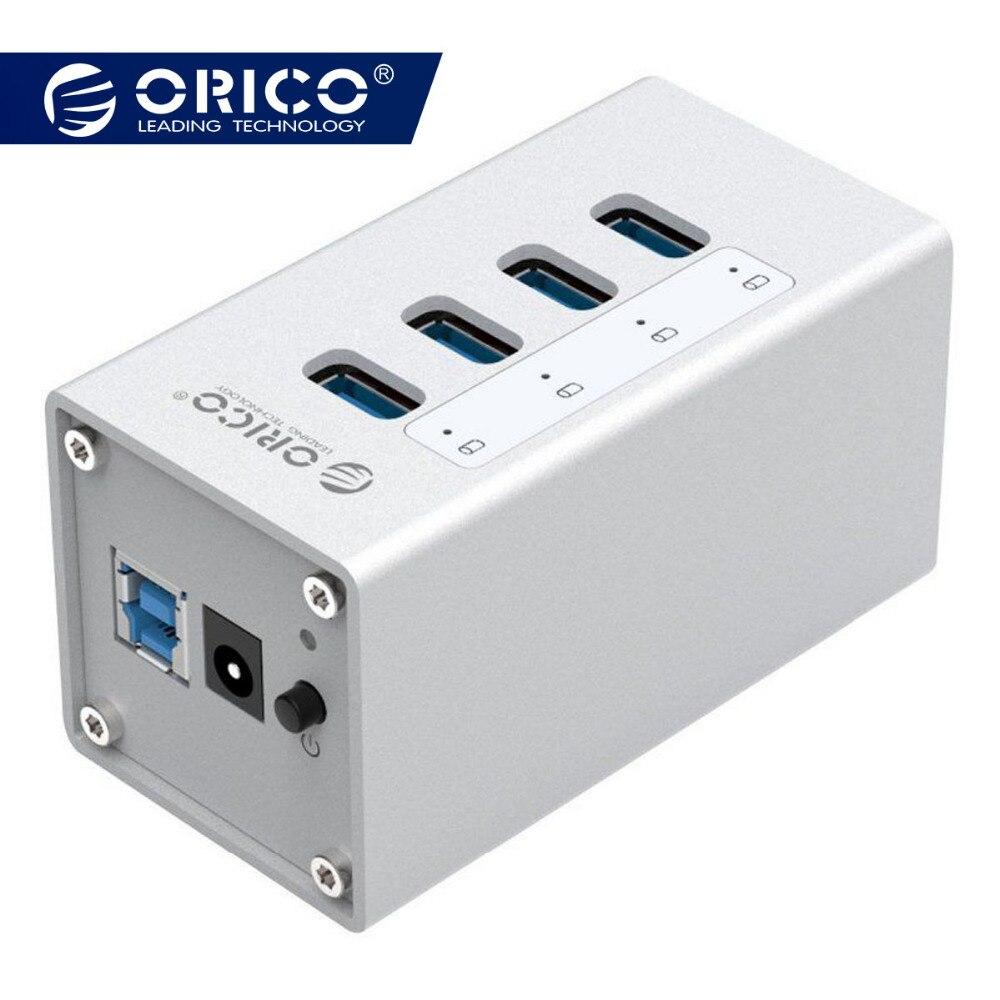 ORICO Puerto 4 de aluminio de alta velocidad multifunción USB 3,0 HUB con el adaptador de corriente y Cable de datos usb interruptor de plata- (A3H4)