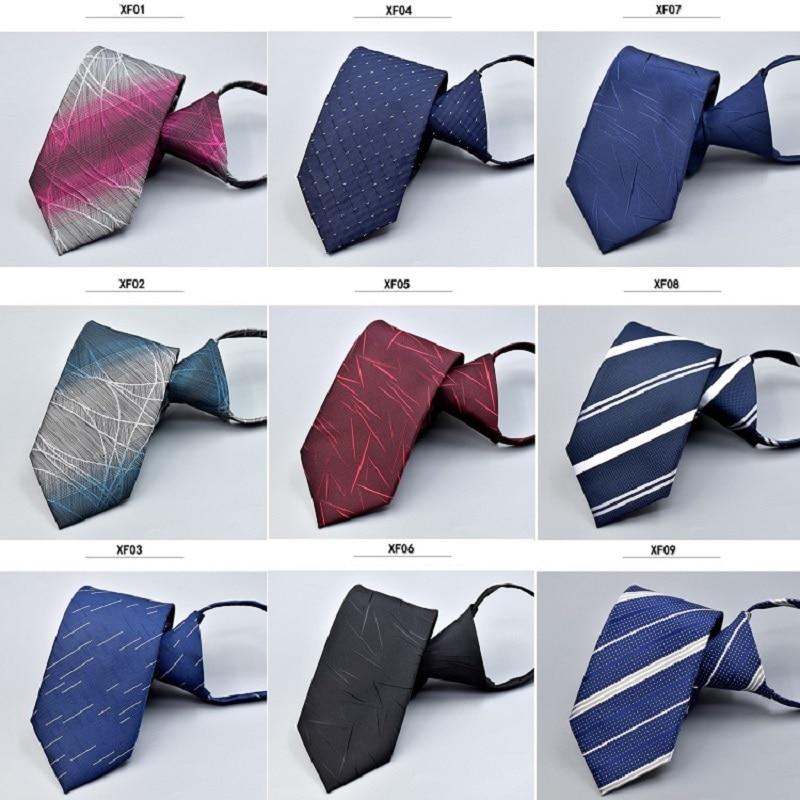 2019 Classic Microfiber Polyester Mens Ties New Design Zipper 7cm Striped for Men Formal Business Wedding Party Gravat