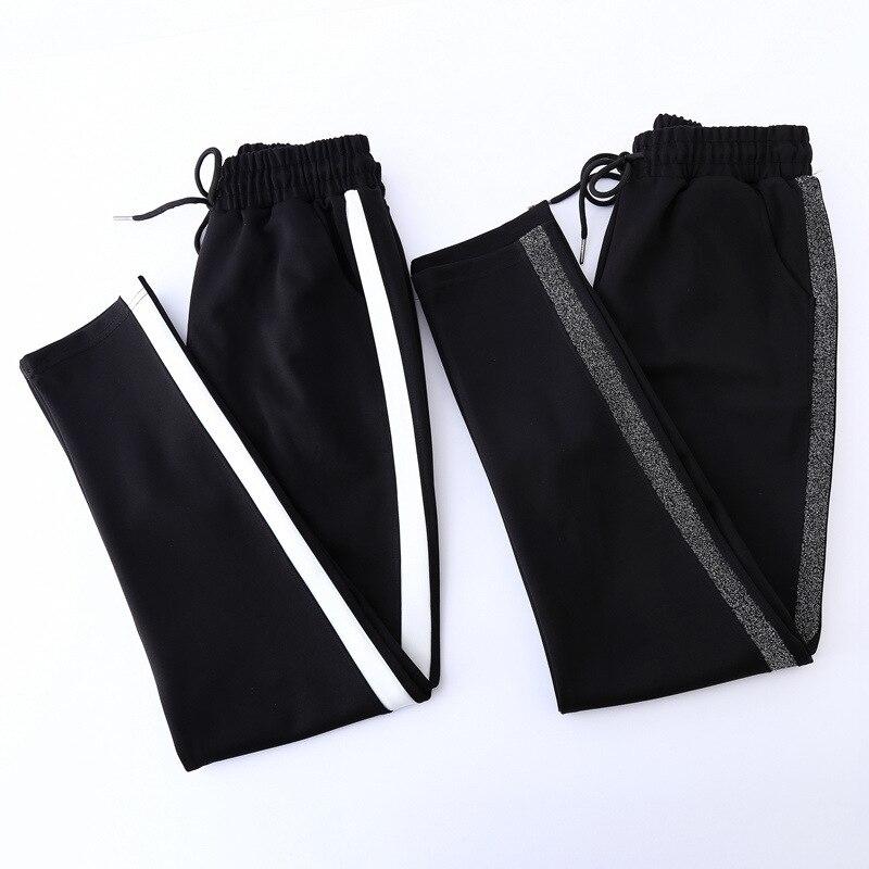 BerylBella Ankle Länge Schwarz Gestreiften Hosen Frauen Casual Harem Hosen Für Frauen Pantalon Elastische Taille Mujer Hosen Weibliche