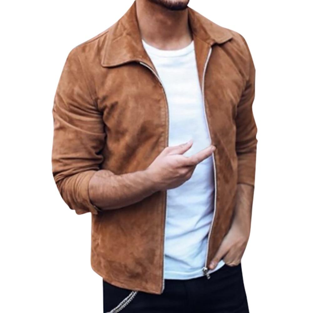 21b2af44b74 Men s Autumn Winter Zipper Slim Long Sleeve Suit Jacket Trench Coat Top Coat  Outerwear Slim Fit