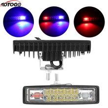 цена на car LED 18w bar Day Driving light fog Lamp spotlight Work Light double color Strobe Spot Flood Beam For offroad Moto SUV ATV
