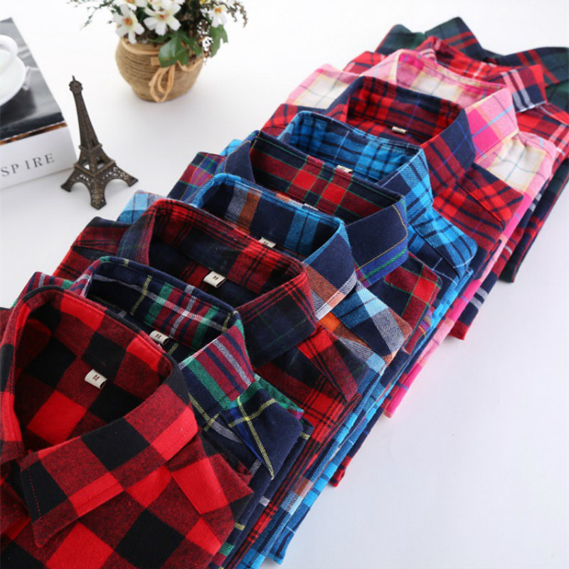 2019 de moda camisa a cuadros camisa de la Mujer de la Universidad de las mujeres del estilo de Blusas de manga larga de la Camisa de franela Plus tamaño de algodón Blusas Oficina tops
