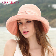 2018 New Spring Summer Women's Sun Hats Solid Color Flodable Caps Women Bucket Hats with Wide Brim Bowtie Ladies Elegant Caps