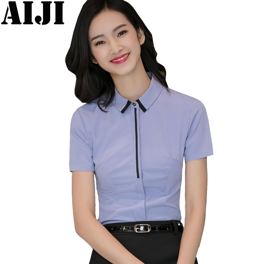 d54289b61b2 2018 Summer Chiffon Blouse Women Short Sleeve Elegant Ladies Office Shirts  Fashion Casual Slim Womens Tops Blusas Plus Size 4XL