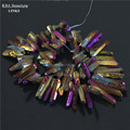 Titanium Purple Quartz Sticks, Crystal Points, Spikes, Drilled Briolettes Beads 16 inch Strand 12 to 36 mm, good quality druzy