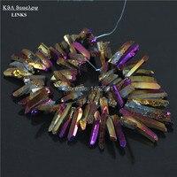 Titanium quarzo viola bastoni, Crystal Points, picchi, Forata Beads briolettes 16 pollice Strand 12-36mm, buona qualità druzy