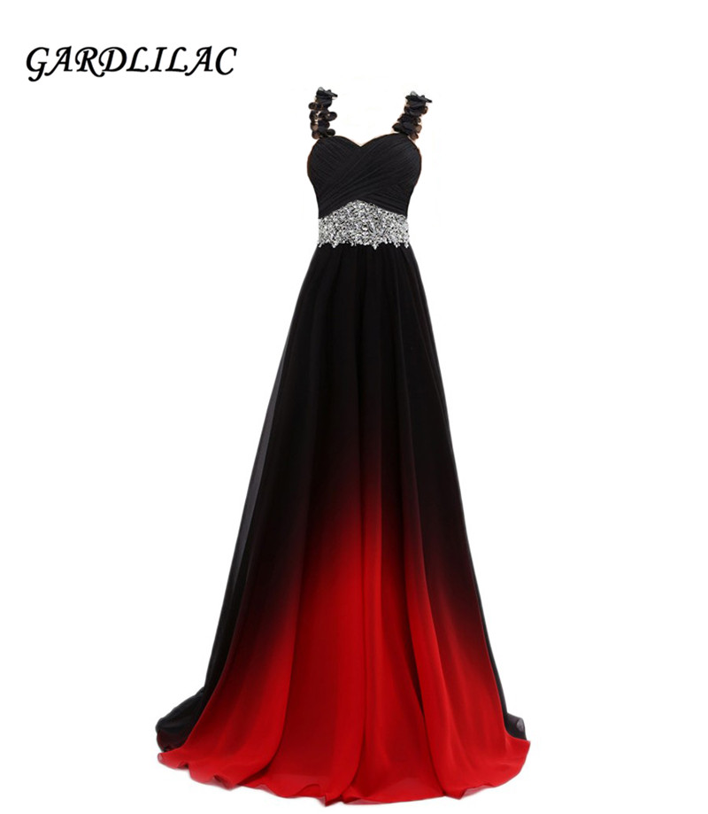 Gradient Chiffon Evening Dresses Vestido Longo Beaded Prom Dress 2019 Prom Long Elegant Dress For Plus