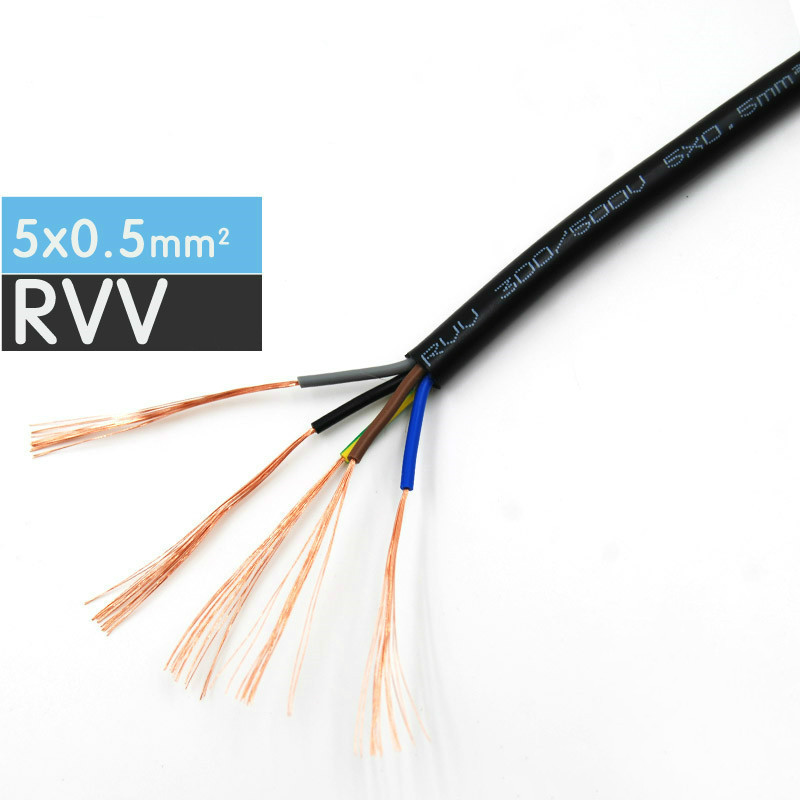 Electric Cable Wire RVV 2 Core 0.5~6mm² All Size,Outdoor DIY Home Decoration