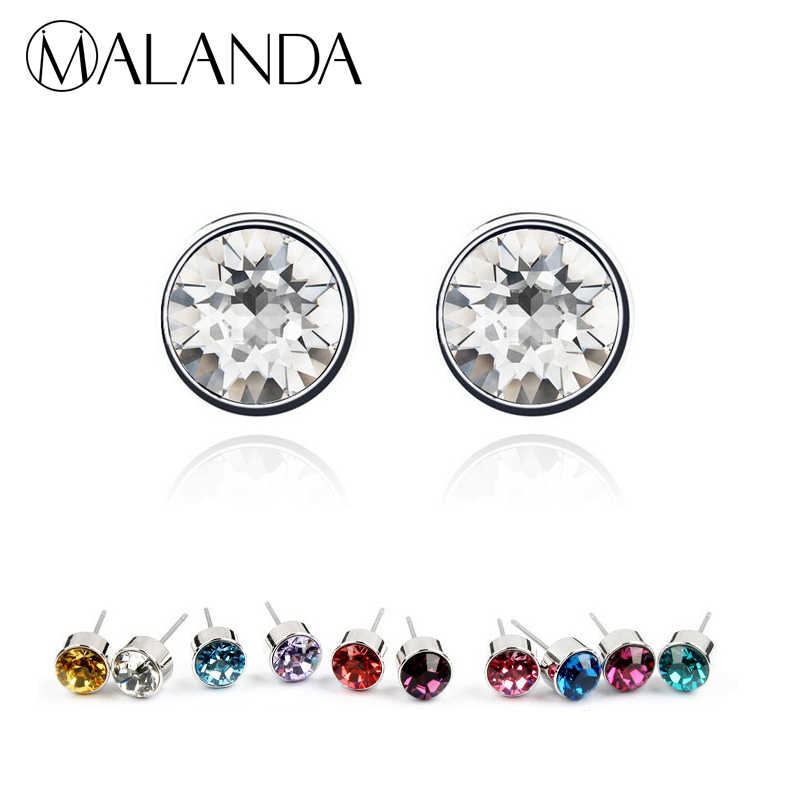 MALANDA Brand Round Crystal From Swarovski Fashion Piercing Stud Earrings  For Women Girl Gift Wedding Earrings 6f3616c2ee79