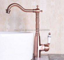 Antique Red Copper Deck Mount Bathroom Kitchen Faucet Single Handle 360 Rotate Basin Sink Mixer Taps Hot and Cold Water Bnf132