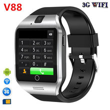 3G Wifi V88 Android Smart Watch Q18 Plus With Sim Card 500W camera video recording support Play Store Download APP Smart Clock(China)