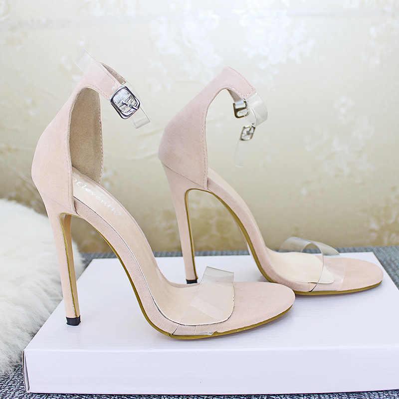 Merk Designer Vrouwen Pompen Transparante Hakken Clear Schoenen Vrouw Zwart Naakt PVC Peep Toe Stiletto Hoge Hakken Sandalen Plus Size 43
