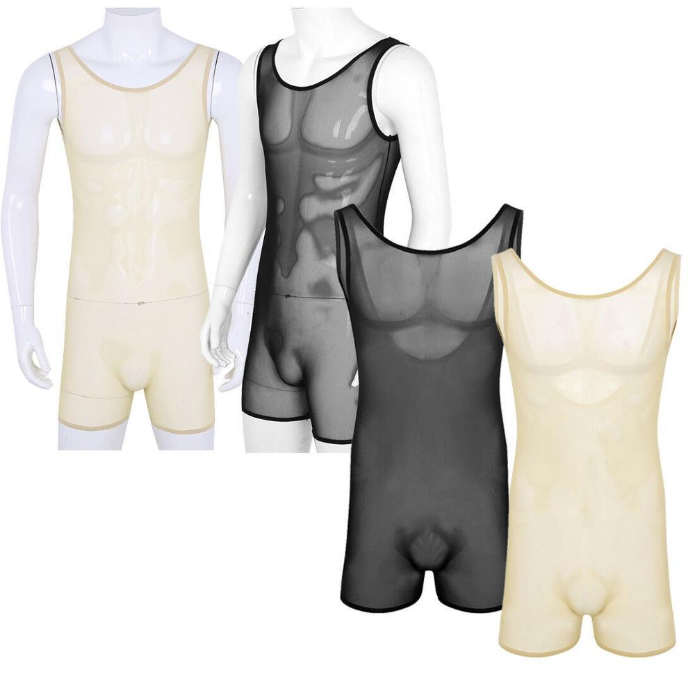 Men/'s One-Piece Bodysuit Leotard Wrestling Singlet Jumpsuit Mesh Comfy Underwear