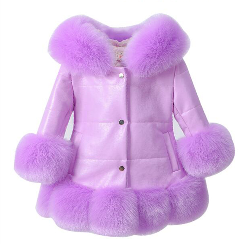 Girl's PU leather Jacket Kids Fox Faux Fur Collar Coat Down Parkas Thicken Coat Princess Winter Outerwear Fur Coat boutique winter new women pu leather coat fashion fox fur collar down cotton women leather mid length slim fur jacket odfvebx
