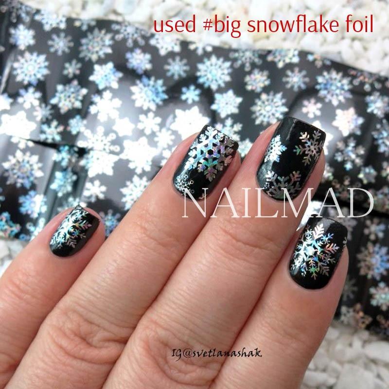1 Roll 4 100cm Holographic Snowflake Nail Foils White Snow Christmas