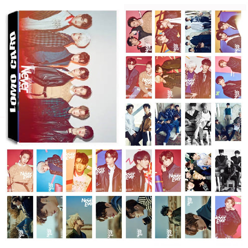 New 30Pcs/set KPOP GOT7 04 Shopping Mall Never Ever Album Photo Card PVC Cards Self Made LOMO Card Photocard