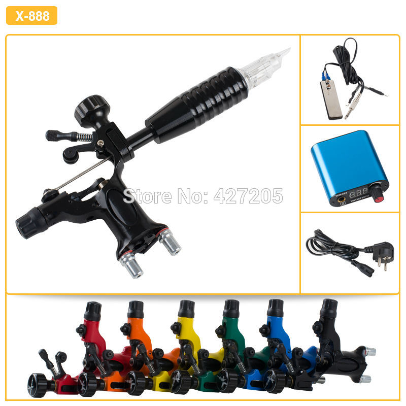 все цены на Best & Top Quality Complete Tattoo Kit with Dragonfly Black Rotary Tattoo Machine Gun Grip Footswitch Power Supply Free Shipping