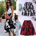 High Quality Saias Femininas Vetidos Saia Funky Vintage Print Skirt Pleated Skirt Wild Long Umbrella Skirts Saias 38