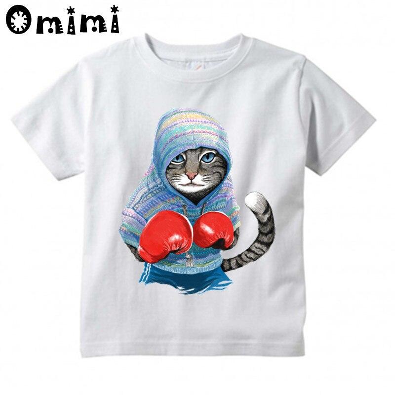 Мальчики/Девочки супер бокс Cat атаки Дизайн футболка Дети Повседневное крутые Топы Детская летняя белая Милая футболка