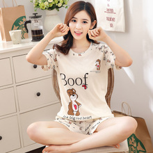 2 piece/set, new Casual sweet short-sleeve shorts sleepwear female summer plus size cotton 100% wome
