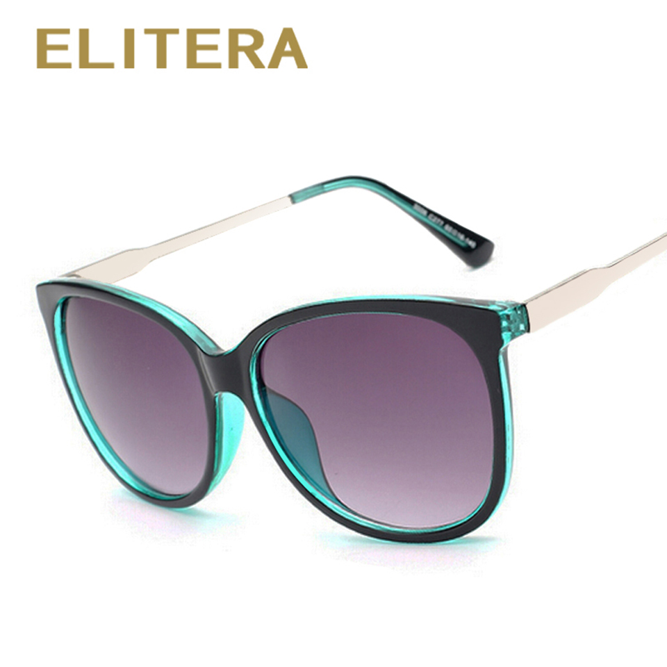ELITERA Luxury Women Solglasögon Fashion Round Ladies Vintage Retro Brand Designer Överdimensionerade Female Sport Sun Glasses Tide