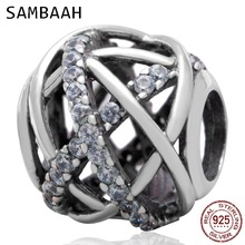 Sambaah Galaxy Charm with Clear CZ Stone 925 Antique Sterling Silver Beads fit Pandora Summer Sky Bracelet SS3115