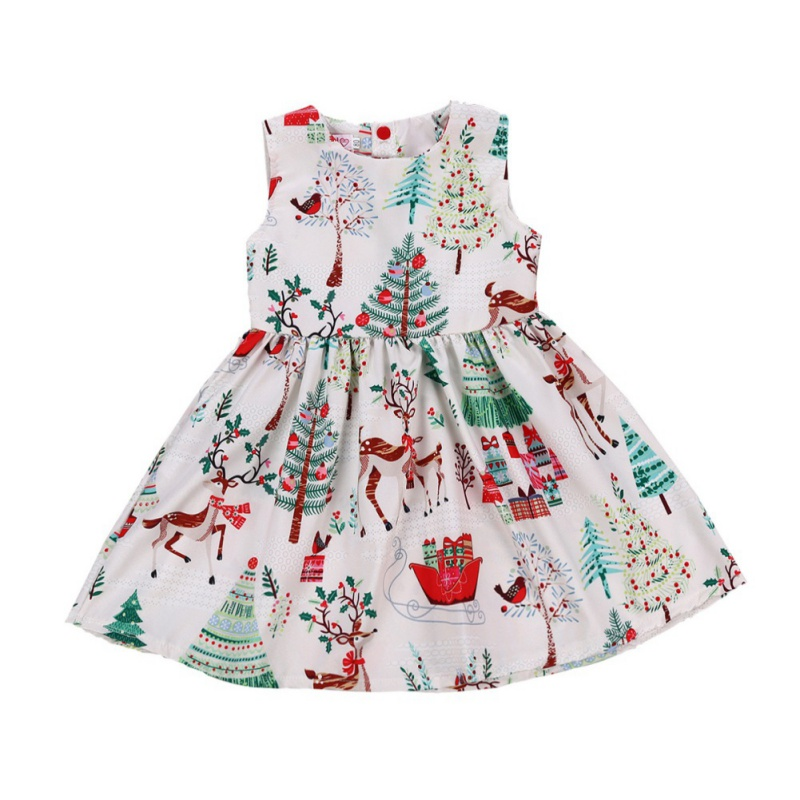 Kids Toddler Baby Girl Cute Deer Xmas Princess Tutu Dress Party Pageant Clothes