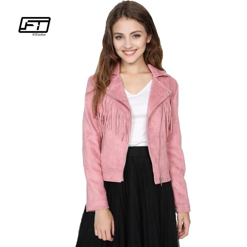 Fitaylor New Spring Women Faux Suede Jacket Slim Punk Leather Jacket Short Design Women Bikers Pink Tassels Jacket Moto Outwear